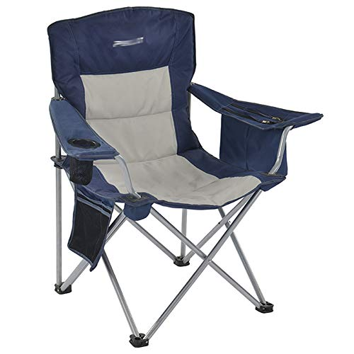 JQXB Folding Chair Lumbar Back Support Light Weight Portable Deluxe Padded Oversize with Cup Holder and Armrest for Camping, Carry Bag Included, Large and Comfortable,Blue