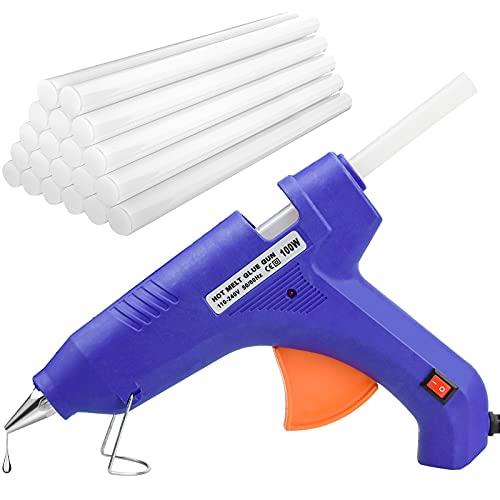 Pistola Silicona Caliente 100W, Pistola de Pegamento Caliente con 20pcs Barras Pegamento Caliente para Bricolaje Empaques Madera Oficinas - Azul