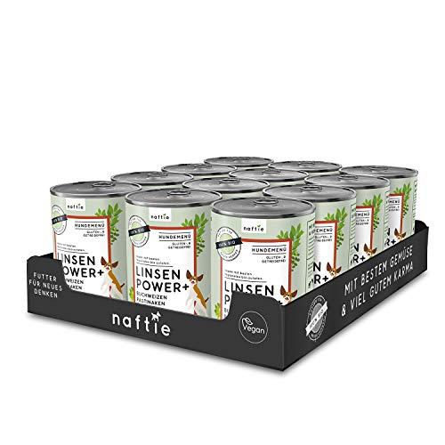 naftie veganes Hundefutter Bio Linsen Power+ | Nassfutter Menü mit Linsen, Buchweizen, Pastinaken & Äpfel | rein pflanzliche Zutaten | glutenfrei | getreidefrei | Sparpaket 12 x 400 g Dosen