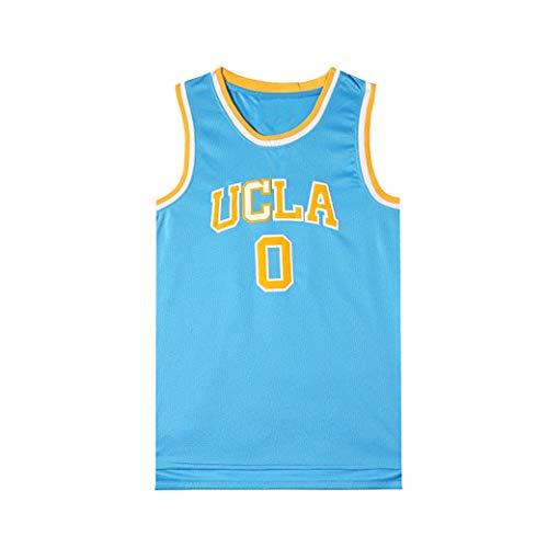 Aojing California Herren Basketball-Trikot Westbrook 0 UCLA New Fabric Embroidered Unisex Sleeveless T-Shirt Basketball Uniform NBA Swingman Jersey, blau, m