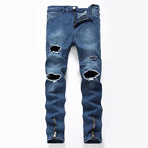 Ocuhiger Pantalones Vaqueros Rectos Delgados para Hombre Pantalones De Mezclilla De Retazos Clásicos De Moda Pantalones Elásticos con Agujeros De Cremallera Rasgados En La Calle Azul
