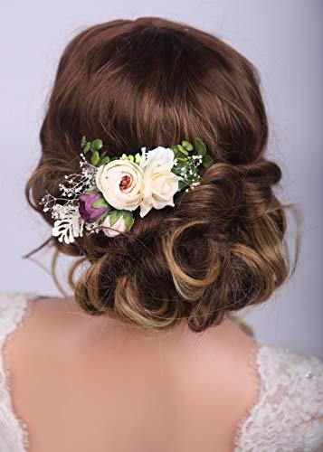Kercisbeauty Champagner-Blumen-Haarkamm für Hochzeit, Frauen, florales Haarteil für Bräute, Brautschmuck, Tiara, Blume, Stirnband, Mädchen, Party, Kopfschmuck