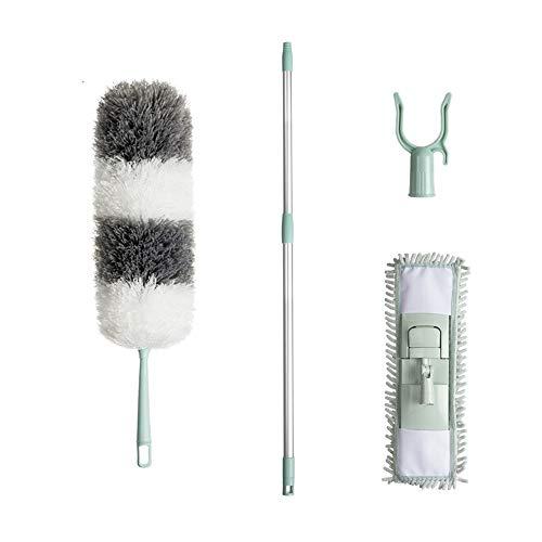 Chenxin Faser Entstaubung, Hausstaub Reinigung, Teleskopstange Hühnerfederdecke mit Mehrzweckteleskopstange Werkzeuge zur Haushaltsreinigung und Staubentfernu (Color : Gray)