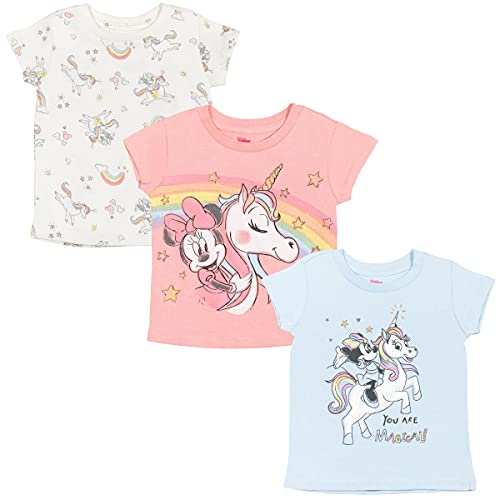 Disney Minnie Mouse Baby Girls 3 Pack Short Sleeve T-Shirt Pink/White/Blue 18 Months