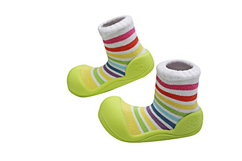 Attipas - ergonomische Baby Lauflernschuhe, atmungsaktive Kinder Hauschuhe ABS Socken Gummisohle Babyschuhe Antirutsch Rainbow (21.5, Rainbow grün)