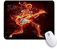 PATINISAマウスパッド 死んだスケルトンミュージックハロウィーン死ゾンビ燃える火でエレクトリックギターを演奏面白いユーモアスタイル ゲーミング オフィ滑り止めゴム底 ゲーミングなど適用 用コンピュータ