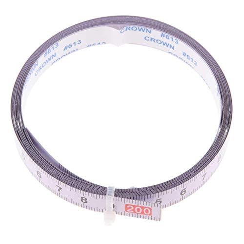 Backbayia Selbstklebendes Maßband Stahlbandmaß Messband Lineal für Werkbänke, Sägetische (Von links nach rechts (0-200CM))
