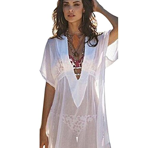 ZEZKT♪Chiffon Cover Up Transparent Bikini Tunika Bluse Spitze Lang Strandkleid Damen Push Up Strandponcho Sommer Kleid V-Ausschnitt Lose casual Beachwear Cover Up Minikleider Oberteile (XL, Weiß)