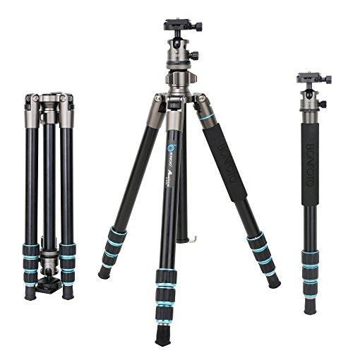 BONFOTO B674A Portable Aluminum Alloy Lightweight Camera Travel Tripod...