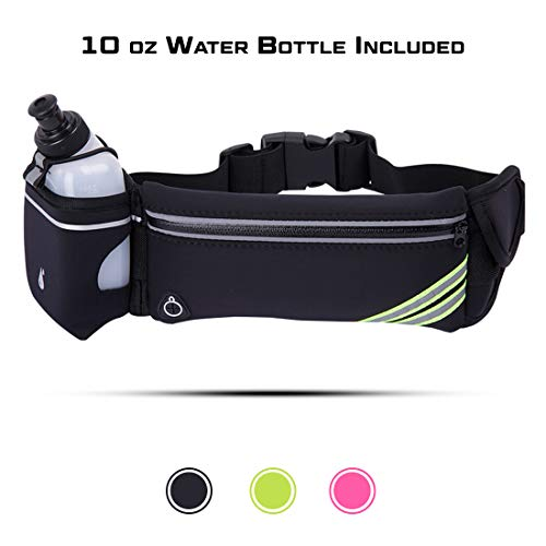 L.O.E. Hydration Waist Pack with Water Bottle-Running Belt Fits All Phones -Slim Fanny Packs for Women & Men -Great for Running Hiking Biking Jogging Climbing & Gym Workouts-One Size Fits All (Black)
