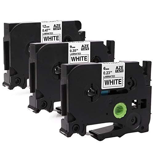 Invoker kompatible Schriftband als Ersatz für Brother TZe-211 TZe-221 TZe-231 Laminiert Etikettenband 6mm/9mm/12mm x 8m,für Brother P-touch 1010 H100R H100LB H105 D400 (Schwarz auf Weiß, 3er-Pack)