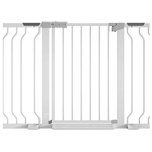 Baby Gate Stair Railing Baby Safety Door Baby Gate with Dog Door Guardrail Child Fence Folding Door Bar Dual Lock Self Closing Self Closing (Color: White, Size: 83-90cm)