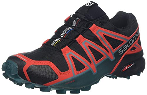 Salomon Speedcross 4 GTX, Scarpe da Trail Running Uomo, Nero Black/High Risk Red/Mediterranean Blue, 49 1/3 EU