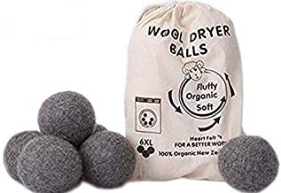 Wool Dryer Balls by MarvelousRule, 6 Pack XL Organic Wool, Non-Toxic, Reusable, X-tra Large. Reduces Drying Time and Chemical Free. Natural Fabric Softener(Grey)