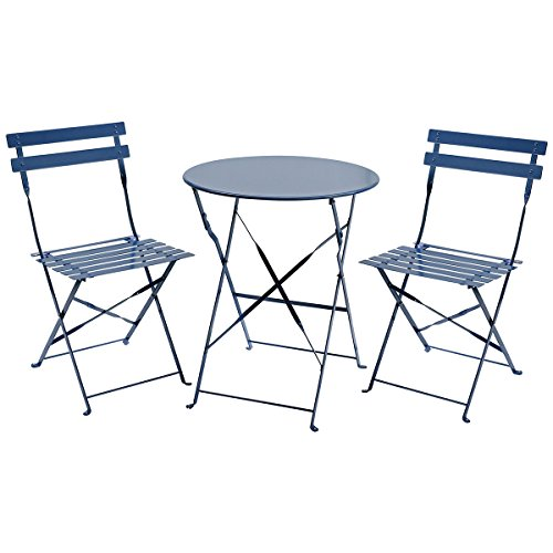 Charles Bentley 3 Piece Metal Bistro Set Garden Patio Table & 2 Chairs Navy Grey Maximum user weight: Chair: 120kg Easy to fold Powder coated finish