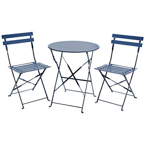 Charles Bentley, set bistrot da 3pezzi, mobili da giardino in ferro pieghevoli per patio, con tavolo rotondo e 2sedie.