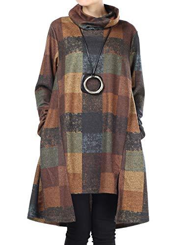 Mallimoda Damen Rollkragen Tunika Kleid Vintage Langarm Kariert Shirt A-Linie Pullover Oberteile mit Taschen Gelb XXL