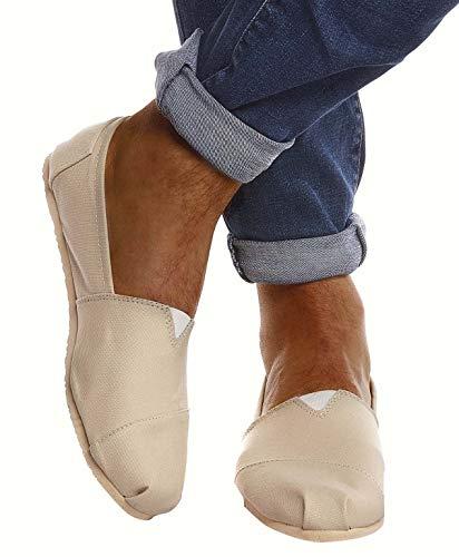 Leif Nelson Herren Espadrilles Gestreifte Schuhe für Freizeit Urlaub Freizeitschuhe für Sommer Flache Männer Sommerschuhe Sneaker Weiße Schuhe für Jungen Slipper LN101S; 43, Creme
