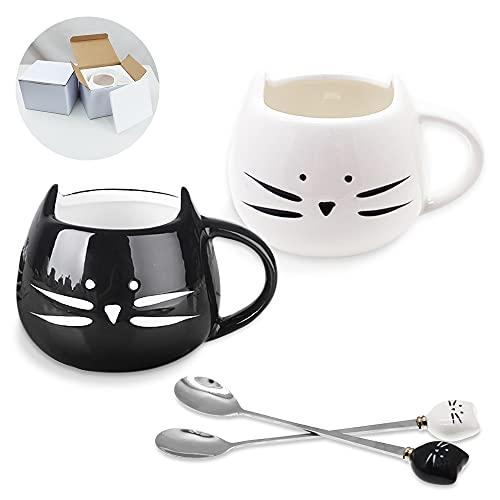 SITAKE 2 Stück Niedliche Keramische Katzentasse mit 2 Stück Löffel Set, Katzen-Tasse 450ml, Katze Keramik Becher Tassen Geschenke Für Frauen Mädchen Katzenliebhaber, Morgen Tee Kaffee Milch Tasse