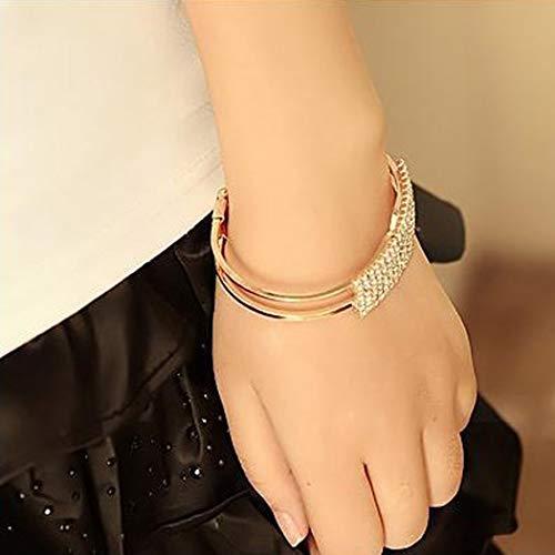 Jovono Fashion Crystal Bracelet Dainty Rhinestone pulsera para mujer y niña (1 pc) (Dorado)