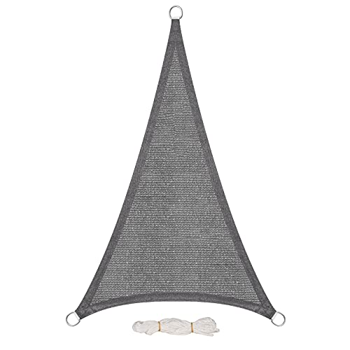 EUGAD Voile d'ombrage Triangulaire 5x7x7m Protection Solaire UV, Voiles d'ombre Triangle Respirant en HDPE 200g/m², Gris, 0176ZYF