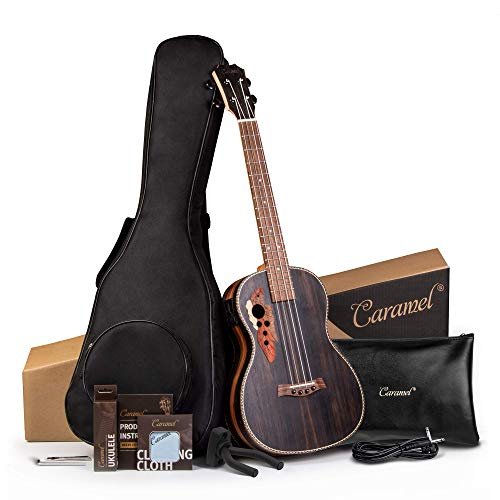 26 inch Caramel CT904 Ebony Tenor LCD color display Electric Ukulele Bundle Padded Gig bag Aquila Strings,Strap and Hanger