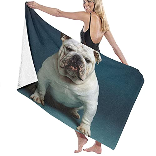 LAKUERVI Large Soft Microfiber Beach Towel,Strong French Bulldog The Best Companion Dog,Oversized Absorbent Travel Blanket Pool Bath Towels Quick Dry Lightweight Bathroom Shower Sheet Swimming Beach