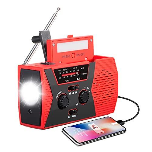【2021 Newest Upgraded】 EAXCK Emergency Solar Hand Crank Radio,4000mAH Emergency Crank Radio AM/FMAA Weather Radio with LED Flashlight,Reading Lamp,Cell Phone Charger,SOS Alert