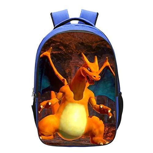 AEH Mochila 3D para Niños Impreso Pikachu Primary School Mochila Ligero Viajedibujos,B