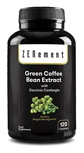 Extracto de Café Verde Natural con Garcinia Cambogia pura, 120 cápsulas | Para perder peso, quemar grasas y disminuir el apetito | No GMO, 100% Natural | de Zenement