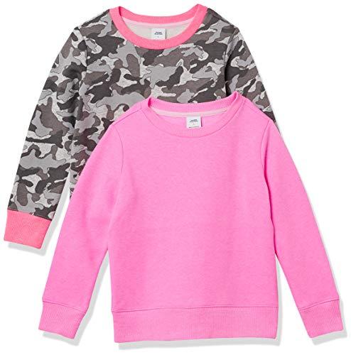 Amazon Essentials Girls' Fleece Crew-Neck Sweatshirts, 2-Pack Grey Camo/Pink, Large