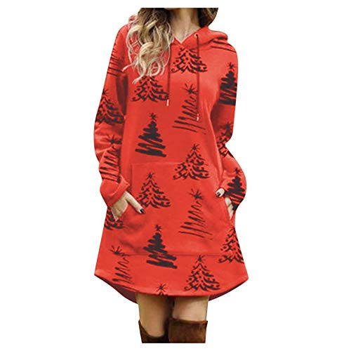 WALLIING Ladies Fashion Christmas Print Round Neck Long Sleeve Hooded Sweater Dress, Casual Sweater Jumper Pullover Sweatshirts Tops, Christmas Tree Print Xmas Party Dress (M, Red)