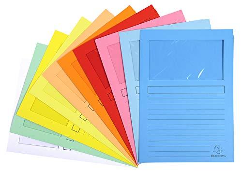 Exacompta 50450E - Lote de 10 Subcarpetas Super 180 con Ventana e Impresas, 10 Colores Surtidos