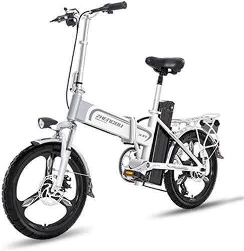 Bicicleta eléctrica de nieve, Bicicletas eléctricas rápida for adultos Ligera bicicleta eléctrica de 16 pulgadas ruedas Ebike portátil con pedal de 400 W de potencia de asistencia de aluminio biciclet