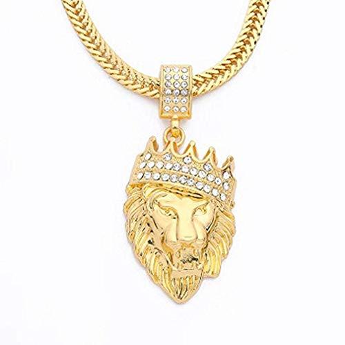 Scpink Venta de liquidación! Collar colgante de león, cadena de hip hop con etiqueta de diamantes de imitación y oro helado (Dorado)