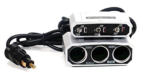 All Ride 3-Fach Steckdose für Normsteckdosen Adapter 5A, Auto LKW 12/24V Zigarettenanzünder Verteiler, einzeln geschaltet
