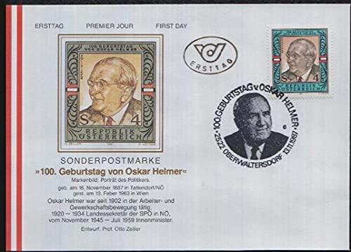 FGNDGEQN Briefmarken Österreich 1987 Stempel Politiker Oscar Hermer 100. Jahrestag 1 Ganztag