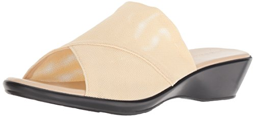 Athena Alexander Women's Viola Wedge Sandal, beige stretch, 6.5 M US