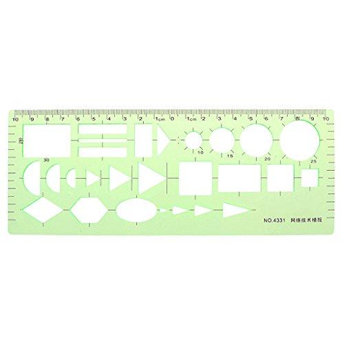 VIccoo Regla de Plantilla, Pro Plastic Circles Square Redondo Plantilla geométrica Regla Plantilla Herramienta de medición