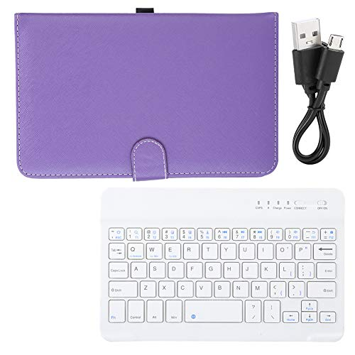 Teclado Bluetooth inalámbrico, Teclado de Tableta con Funda de Cuero PU, Teclado extraíble, Carga rápida y Ahorro de energía, para teléfonos con Pantalla de 4.5 a 6.8 Pulgadas.(Púrpura)