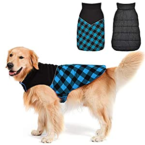 Fragralley Dog Winter Coat, Reversible Waterproof Winter Pet Snow Jacket, Dog Cold Clothes Warm Cotton Vest Windproof Sweaters, Plaid with Reflective, for Small Medium and Large Dogs