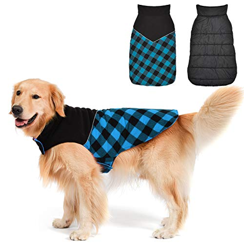 Fragralley Dog Winter Coat, Winter Pet Snow Jacket, Dog Cold Clothes Warm Cotton Vest Sweaters, for Medium Boy Male Dogs,Dog Coat