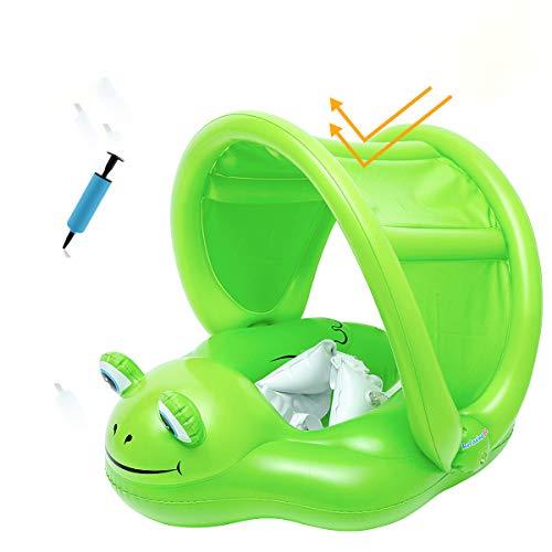 Delicacy Baby Schwimmring mit abnehmbarem Sonnendach, Frosch Schwimmring, Baby Schwimmhilfe mit Schwimmsitz Adjustable Waist Aufblasbare Schwimmer für Kleinkind Schwimmhilfe Spielzeug 6-24 Monate
