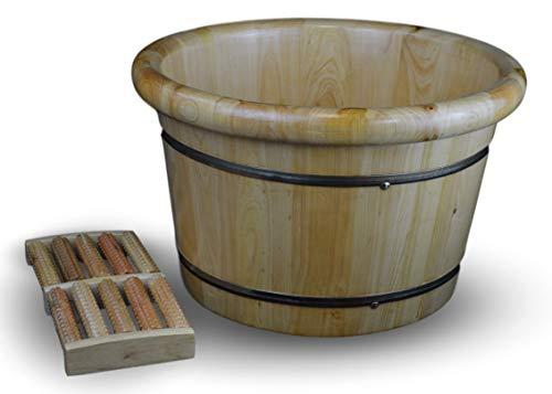 """Solid Cedar Wood Foot Basin Tub Bucket for Foot Bath, Massage, Spa, Sauna, Soak, 16"""""""