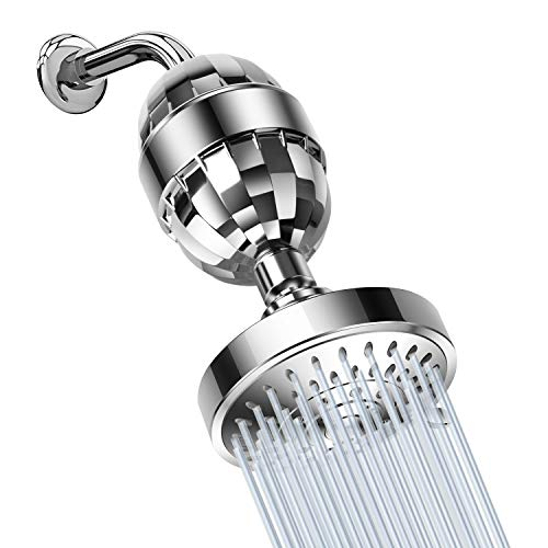 High Pressure Shower Head And 15 Stage Premium Shower Water Filter - 5 Setting Anti-clog Anti-leak Self Cleaning Nozzle Chrome Shower Head - Shower Filter Relieves Dry Skin - Rejuvenate Skin And Hair