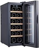 ZHZHUANG 18 Botellas Cada Operación de Vino Frigerador, Nevera de Vino de Compresor Independiente, Bodega para Champán Rojo Blanco O Vino Espumoso, Negro,Negro,25.2X50X63.8Cm