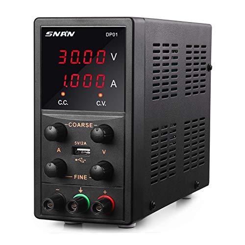 SNAN Labornetzgerät, 0-30V/0-5A, Regelbar, Labornetzteil Netzteil Strommessgerät, DC mit 4-stelliger LED-Anzeige, Strommessgerät, Überlast- & Kurzschlussfest, SNAN-DP01