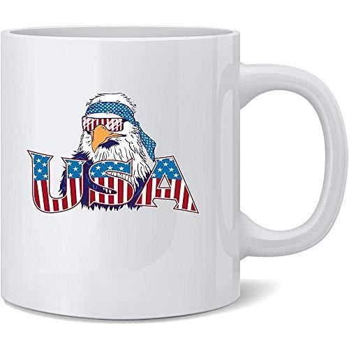 EE. UU. Epic Patriot Bald Eagle 4 de julio Patriótico Taza de café de cerámica Regalo divertido de la novedad