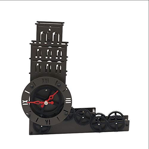guoqunshop Reloj Vintage Reloj de Torre Inclinada de Metal Art Deco Reloj de Engranaje de Torre Inclinada silencioso Negro Reloj