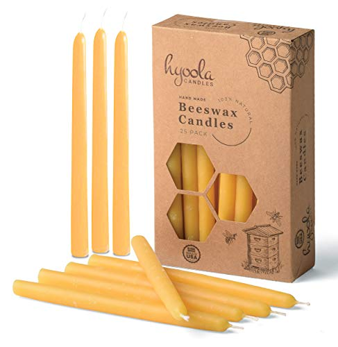 "Hyoola Thin Beeswax Taper Candles – 25 Pack – Handmade, All Natural, 100% Pure Scented Bee Wax Candle - Tall, Decorative, Golden Yellow – 6"" Tall – Handmade in The USA"